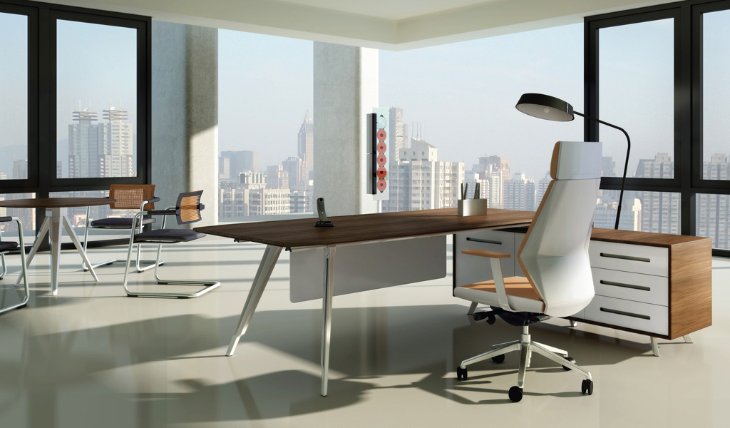 Exceptionnel Bossu0027s Cabin Kross Office Table Is A Geometrically Scaled Desk That Makes A  Bold Statement With Strong Horizontals And Sleek Modern Profile.